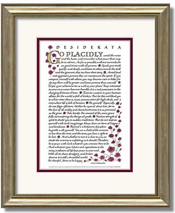 Desiderata Calligraphy Framed
