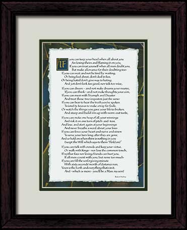 If By Kipling If Poem Art Print 11x14 Framed